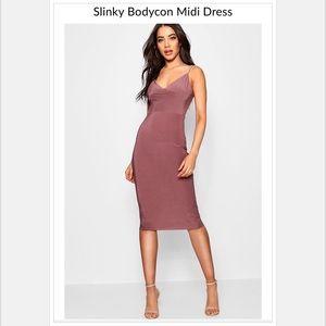 "Boohoo ""Silky Bodycon Midi Dress"""